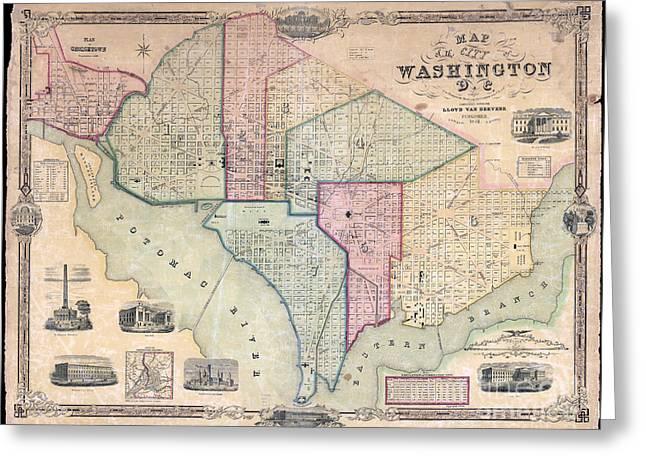 1851 Washington Dc Map Greeting Card