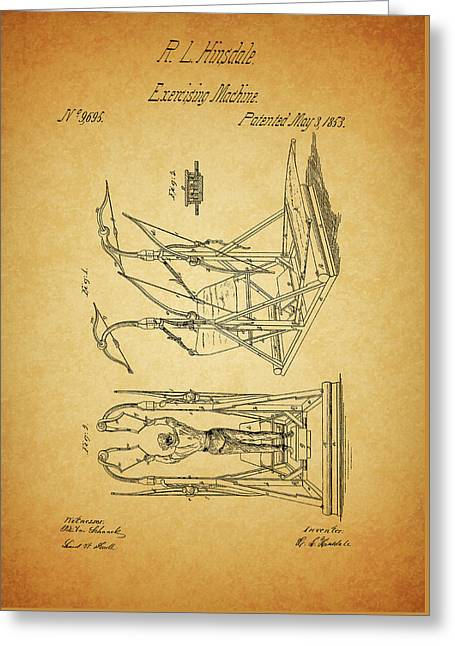 1853 Exercising Machine Patent Greeting Card by Dan Sproul