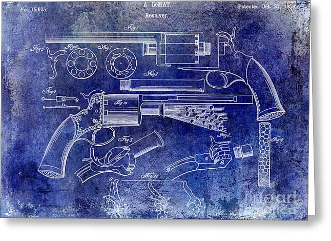 1856 Revolver Patent Blue Greeting Card