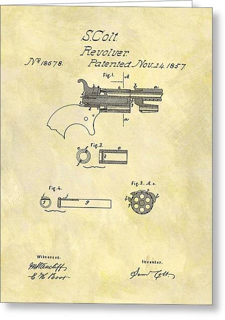1857 Colt Revolver Design Greeting Card by Dan Sproul