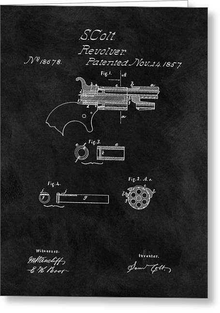 1857 Colt Revolver Patent Greeting Card by Dan Sproul