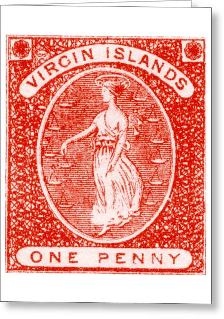 Greeting Card featuring the painting 1858 Virgin Islands Stamp by Historic Image
