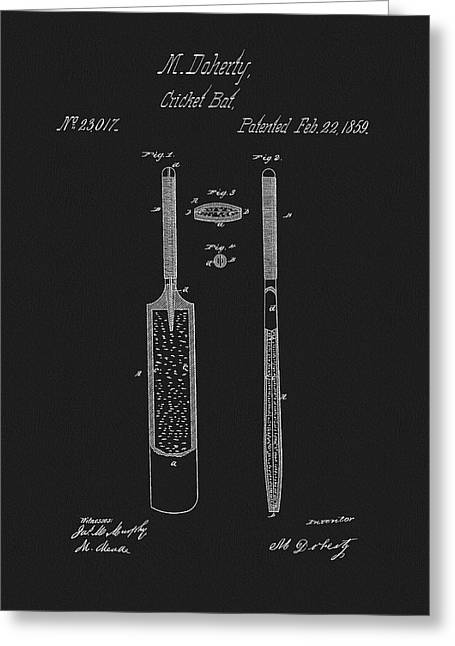 1859 Cricket Bat Patent Greeting Card