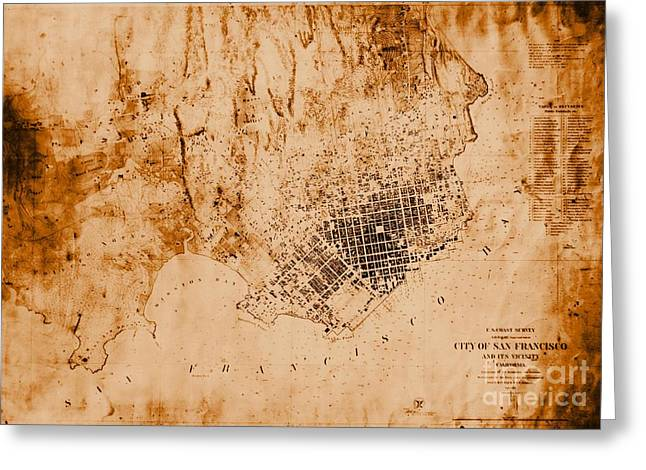 1859 Map Of San Francisco California Greeting Card by Padre Art
