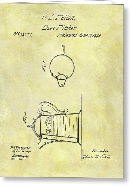1860 Beer Pitcher Patent Greeting Card