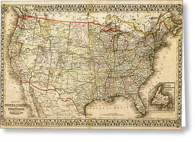 1860 Map Of The United States And Territories Together With Canada By S. Augustus Mitchell Jr. Greeting Card by Serge Averbukh