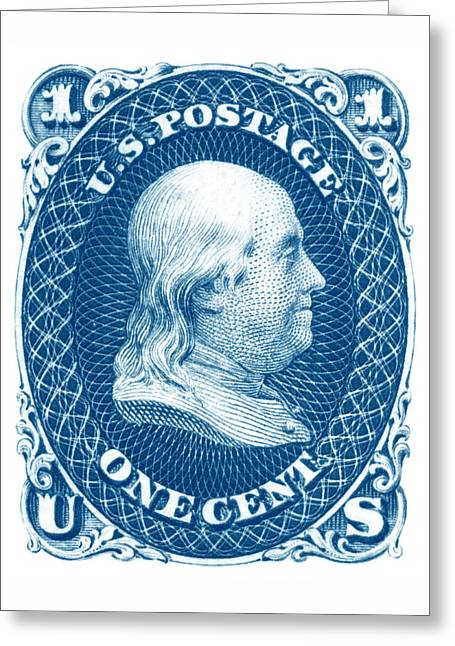 Greeting Card featuring the painting 1861 Benjamin Franklin Stamp by Historic Image