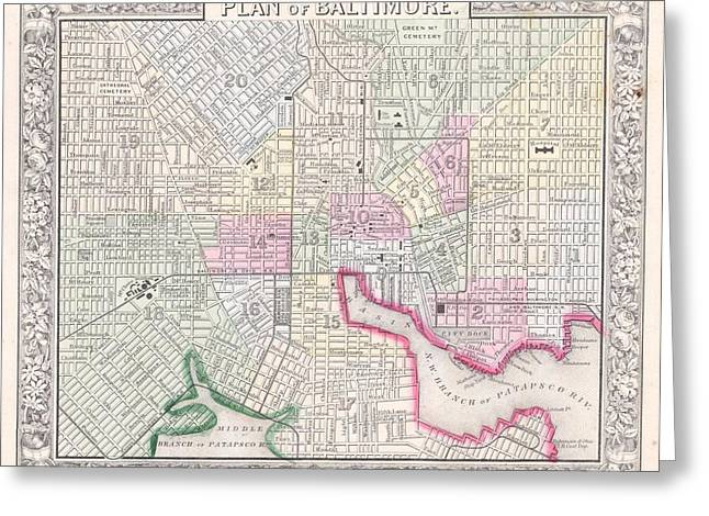 1864 Map Of Baltimore Maryland Greeting Card by Celestial Images