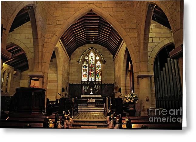 1865 - St. Jude's Church  - Interior Greeting Card by Kaye Menner