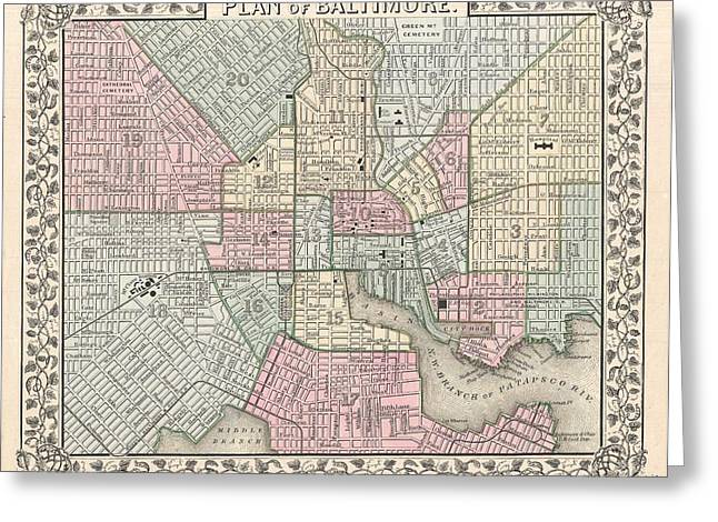 1867 Map Of Baltimore Maryland Greeting Card by Celestial Images