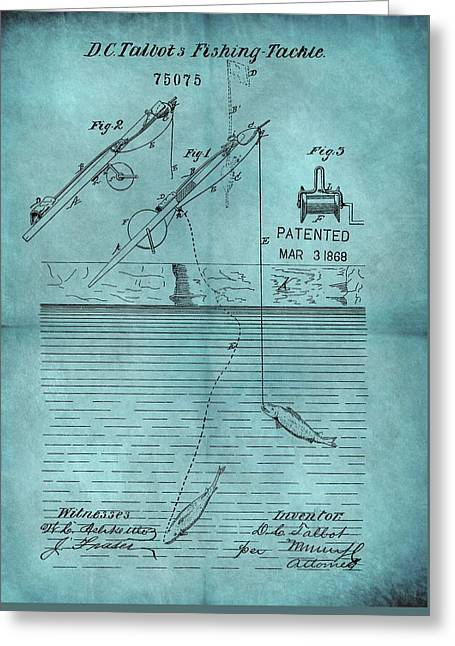 1868 Fishing Tackle Patent Blue Greeting Card