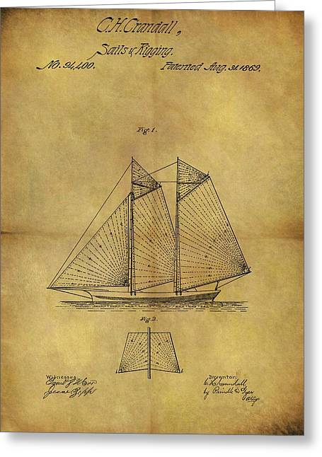 1869 Sailing Ship Patent Greeting Card by Dan Sproul