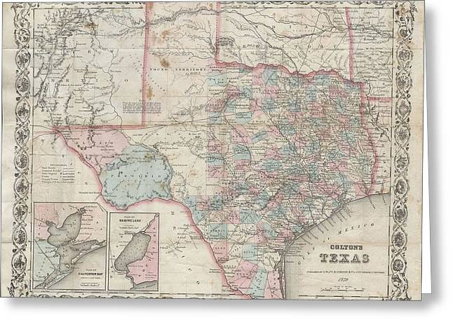 1870 Colton Pocket Map Of Texas Greeting Card