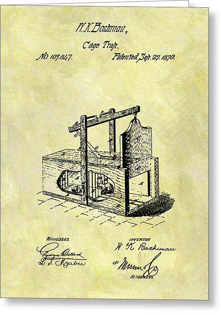 Greeting Card featuring the mixed media 1870 Mousetrap Patent by Dan Sproul