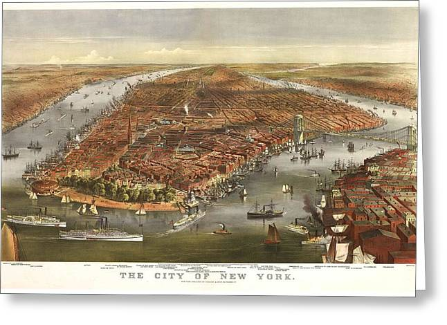 1870 New York Map Greeting Card by Dan Sproul