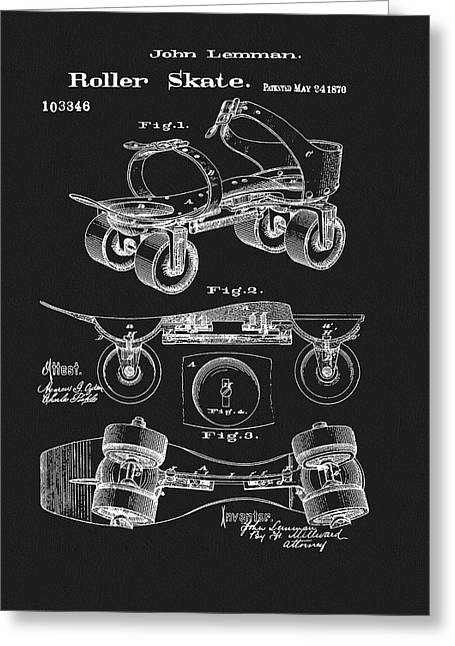 1870 Roller Skate Patent Greeting Card by Dan Sproul