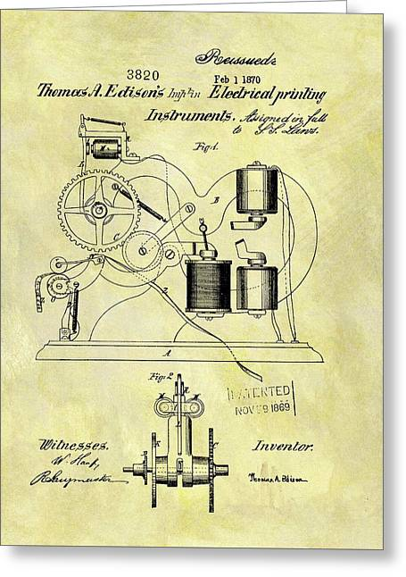 1870 Thomas Edison Patent Greeting Card by Dan Sproul