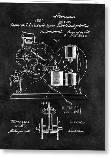 1870 Thomas Edison Print Patent Greeting Card