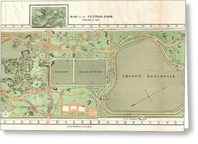 1870 Vaux And Olmstead Map Of Central Park New York City Greeting Card