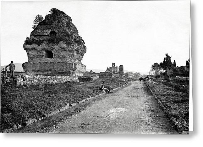 Greeting Card featuring the photograph 1870 Visiting Roman Ruins Along The Appian Way by Historic Image