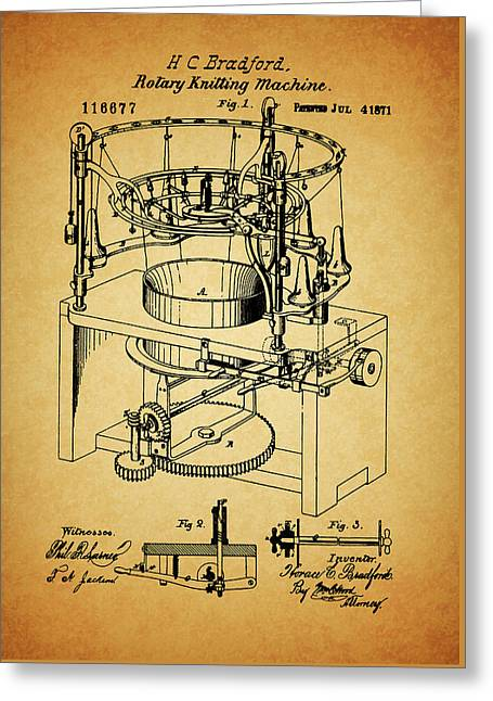 1871 Rotary Knitting Machine Greeting Card by Dan Sproul