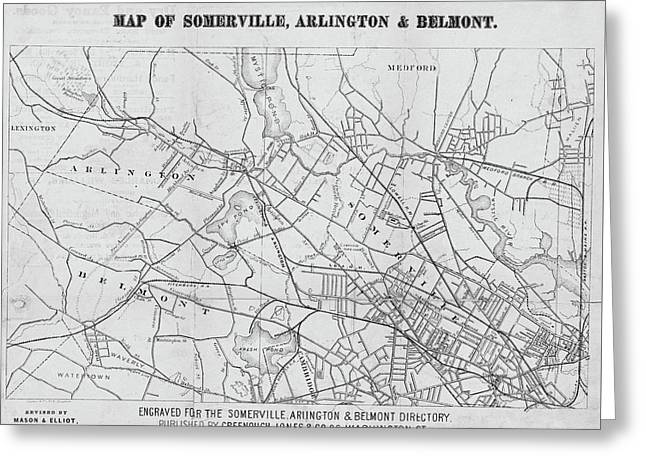 1871 Somerville Arlington And Belmont Map Black And White Greeting Card