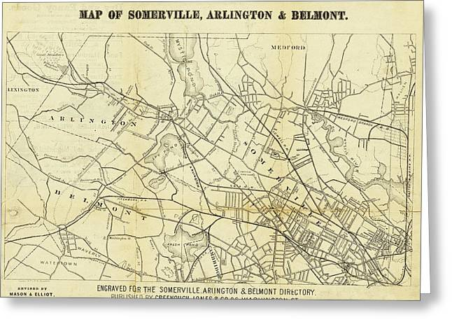 1871 Somerville Arlington And Belmont Map Greeting Card