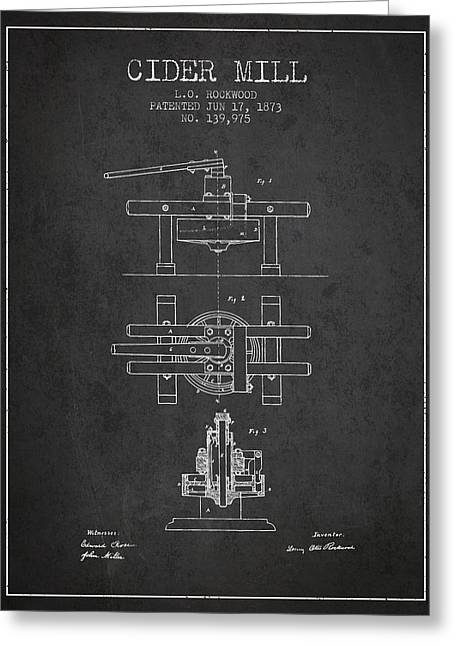 1873 Cider Mill Patent - Charcoal Greeting Card by Aged Pixel
