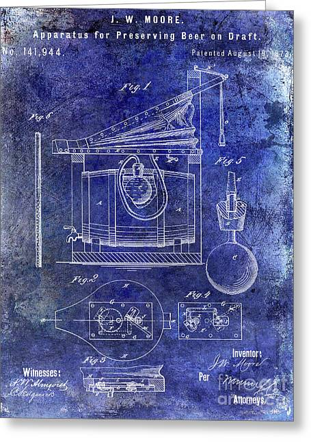 1873 Draft Beer Patent Blue Greeting Card by Jon Neidert