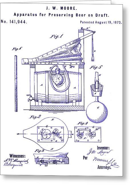 1873 Draft Beer Patent Blueprint Greeting Card