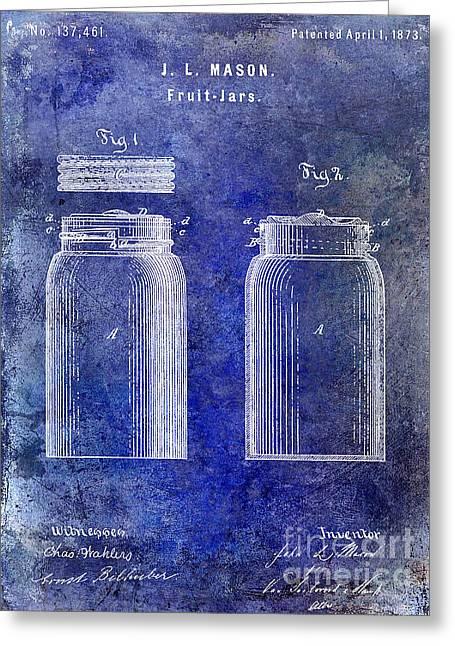 1873 Mason Jar Patent Blue Greeting Card
