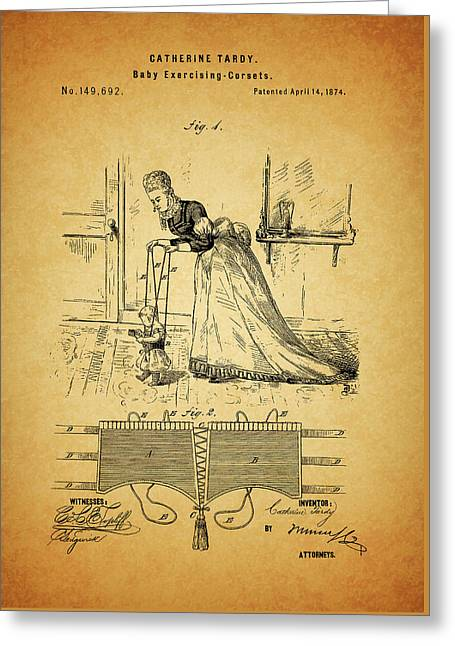 1874 Baby Exercising Corset Greeting Card by Dan Sproul