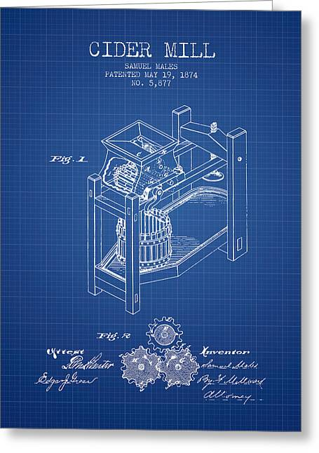 1874 Cider Mill Patent - Blueprint 02 Greeting Card by Aged Pixel