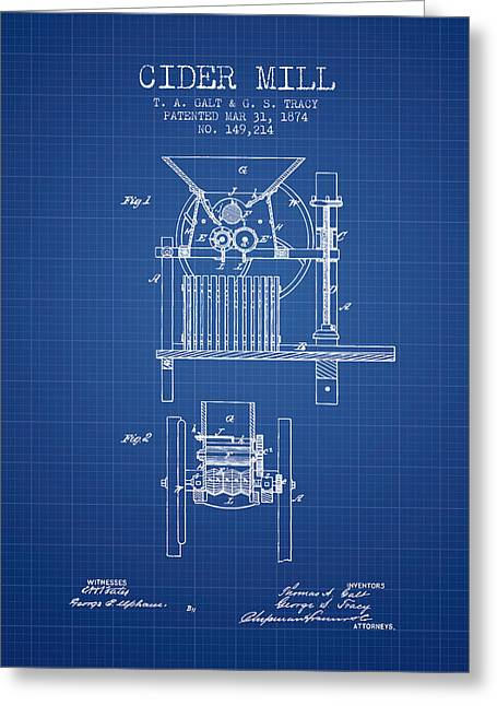 1874 Cider Mill Patent - Blueprint Greeting Card by Aged Pixel