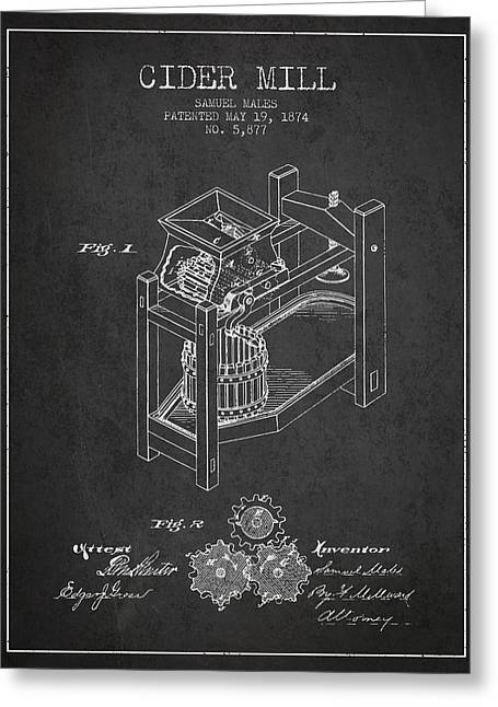1874 Cider Mill Patent - Charcoal 02 Greeting Card by Aged Pixel