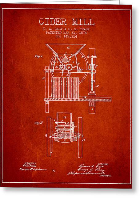 1874 Cider Mill Patent - Red Greeting Card by Aged Pixel