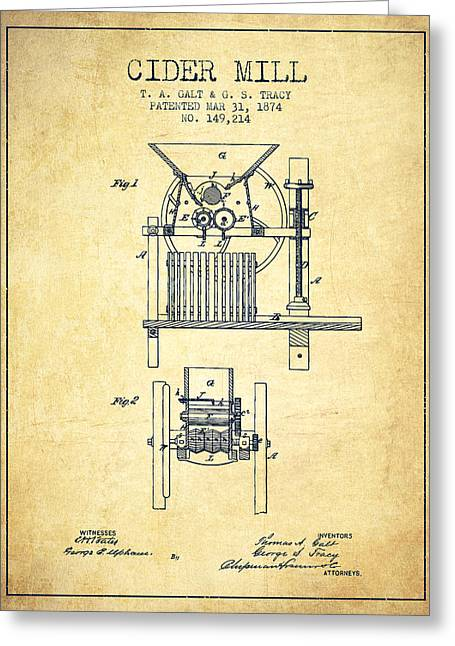 1874 Cider Mill Patent - Vintage Greeting Card by Aged Pixel