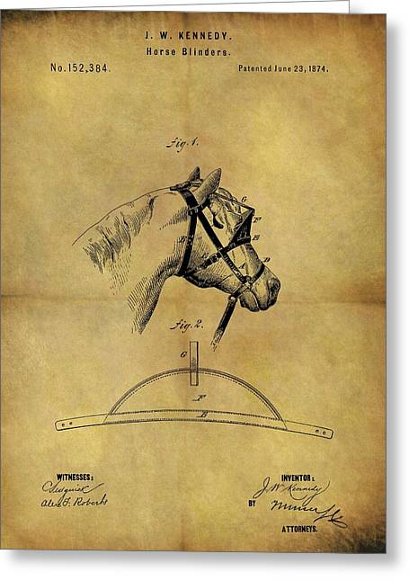 1874 Horse Blinder Patent Greeting Card by Dan Sproul