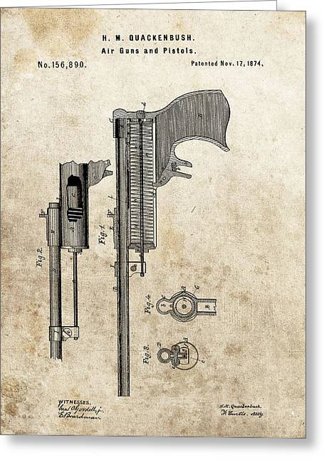1874 Pistol Patent Greeting Card by Dan Sproul