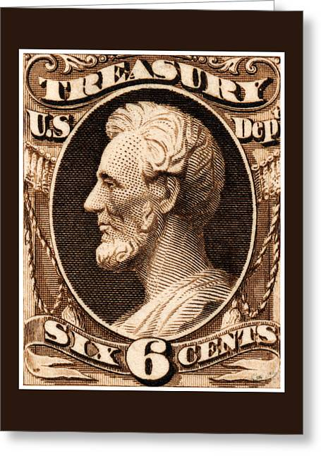 1875 Abraham Lincoln Treasury Department Stamp Greeting Card by Historic Image