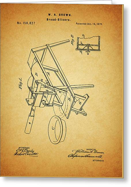 1875 Bread Slicer Patent Greeting Card