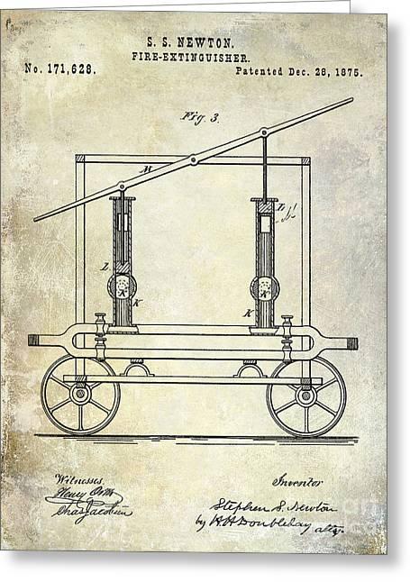 1875 Fire Extinguisher Patent Greeting Card by Jon Neidert