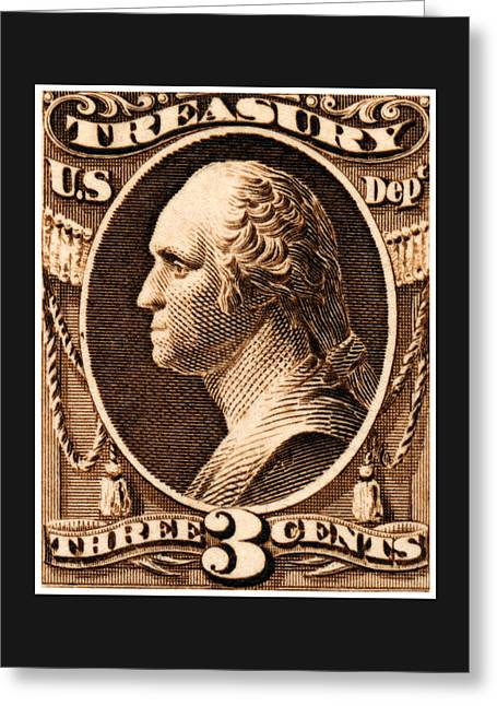 Greeting Card featuring the painting 1875 George Washington Treasury Department Stamp by Historic Image