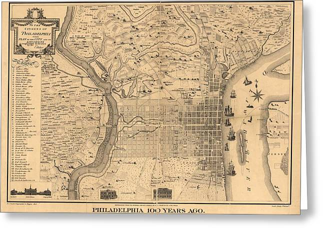 1875 Philadelphia Map Greeting Card by Dan Sproul