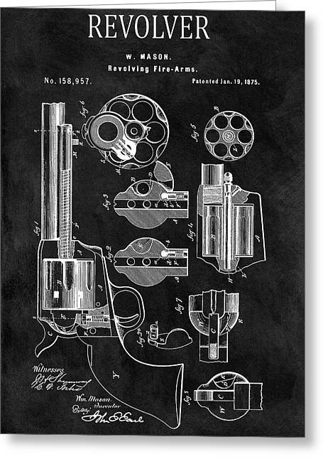 1875 Revolver Gun Patent Greeting Card by Dan Sproul