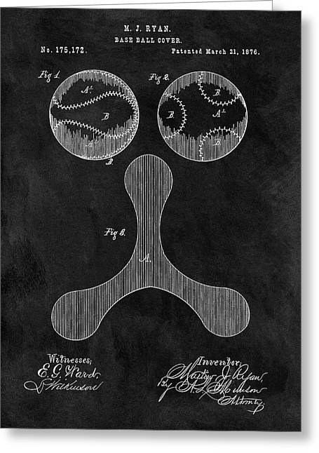 1876 Baseball Drawing Patent Greeting Card