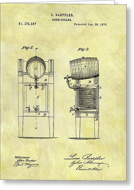 1876 Beer Cooler Patent Greeting Card by Dan Sproul