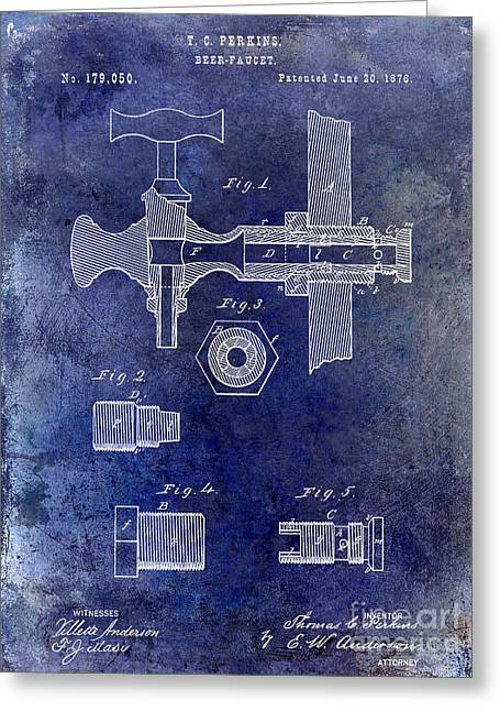1876 Beer Faucet Patent Blue Greeting Card by Jon Neidert