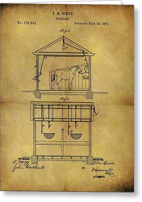 1876 Horse Stable Patent Greeting Card by Dan Sproul