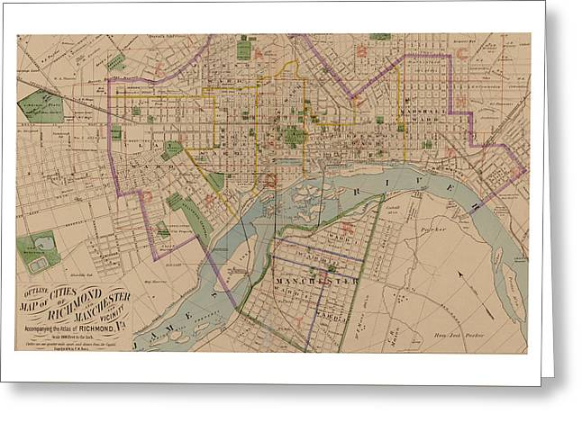 Reproduction 1876 Map Of Richmond Virginia Greeting Card by Christopher Kerby